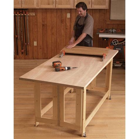 wooden folding table plans folding work table woodworking plan from wood magazine