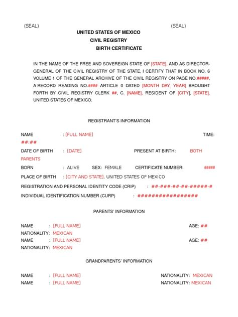 Mexican Nl Birth Certificate Translation Mexican Birth Certificate Translation Template Pdf