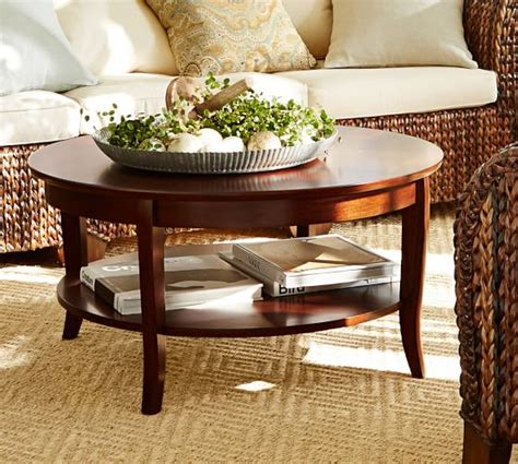 how to decorate a round coffee table chloe round coffee table pottery barn