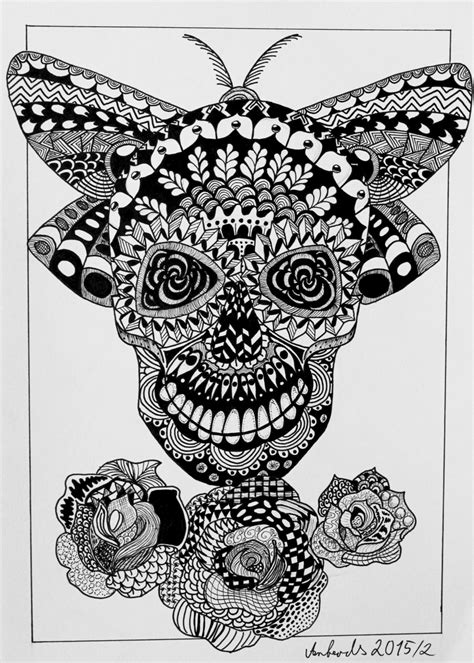 zendoodle drawing competition skull zentangle by anbeads on deviantart