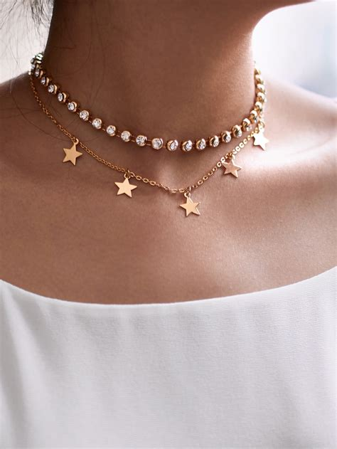 Choker Color Design Chain Simple023f78 Rbcbed rhinestone design chain choker shein sheinside