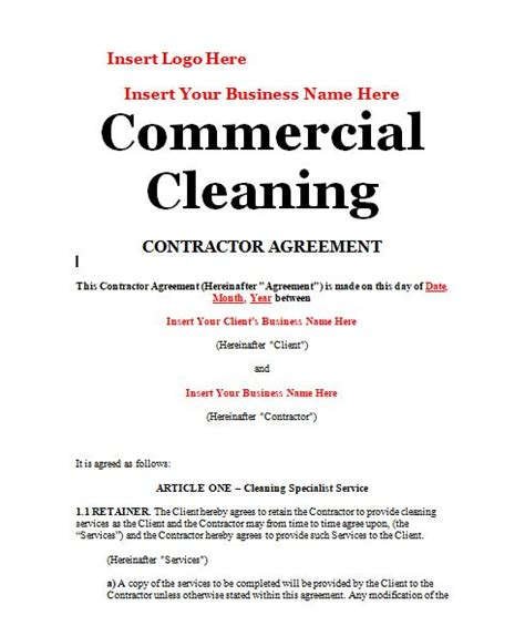 commercial cleaning contract templates template commercial cleaning contract template
