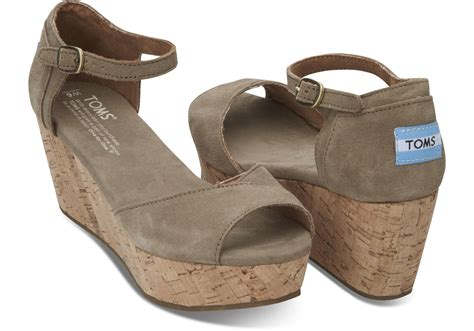 toms high heel wedges toms taupe suede s platform wedges in brown lyst