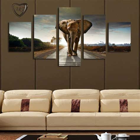 Large Canvas For Living Room by 5 Pcs No Frame Elephant Painting Canvas Wall Picture
