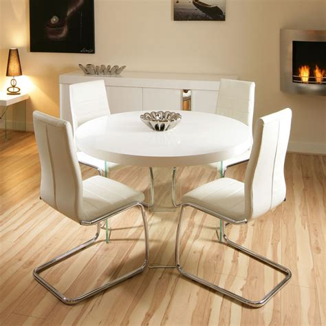 White High Gloss Dining Table And 4 Chairs by Modern Large High Gloss White Dining Set Table 4