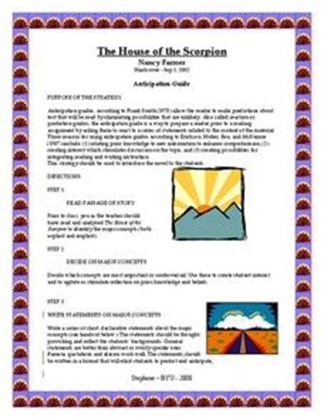 house of the scorpion lesson plans the house of the scorpion anticipation guide 6th 8th