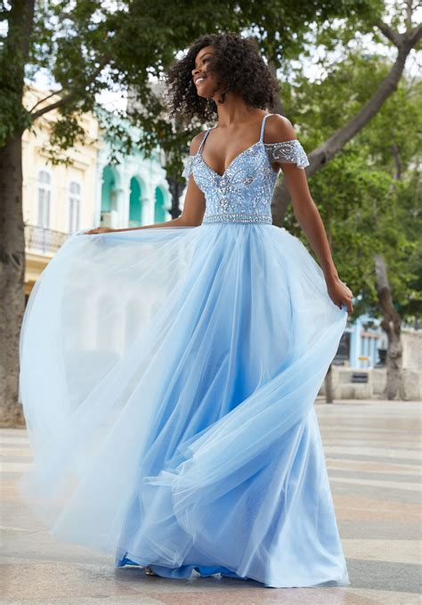 Dress Nets soft net prom dress with beaded bodice and cold shoulder sleeves style 42030 morilee