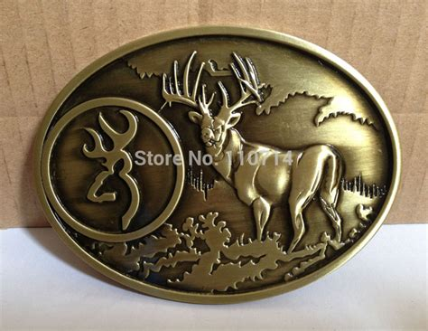 browning brass buck belt buckle swb10 13 with pewter