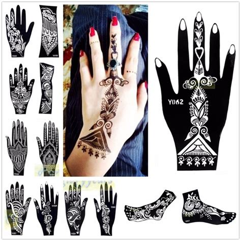 temporary tattoo paper manufacturer aliexpress com buy 1pc large mehndi henna glitter