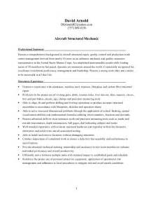 Aircraft Structural Repair Sle Resume resume structures mechanic