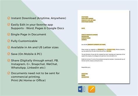 letter resignation template word google docs apple