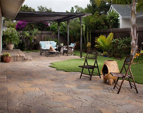 backyard patio transformation with pavers artificial