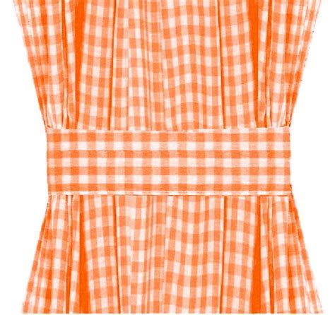Orange Gingham French Door Curtain Panels (available in