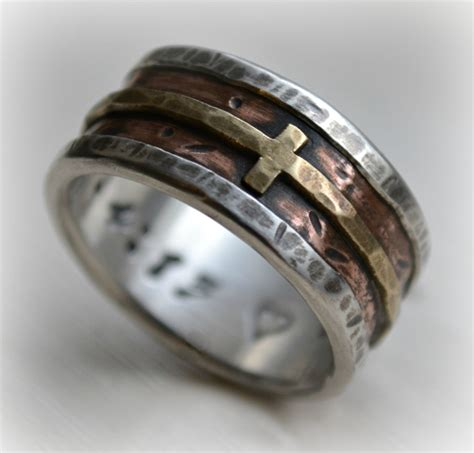 Christian Wedding Rings by Mens Wedding Band Rustic Silver Copper And Brass Cross