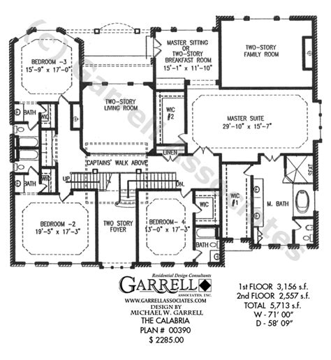 2 story house plans with master on second floor calabria house plan house plans by garrell associates inc
