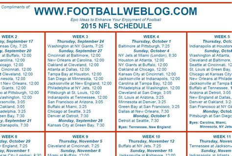 printable nfl season schedule nfl season schedule 2015 printable