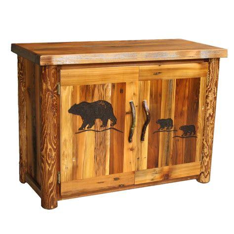 Barnwood 2 Door Cabinet With Bear Carving Barnwood Cabinet Doors