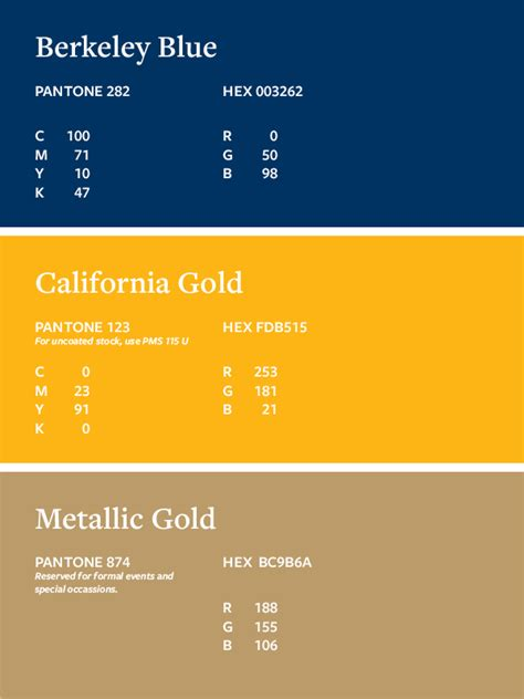 uc berkeley colors caa brand identity color palette caa