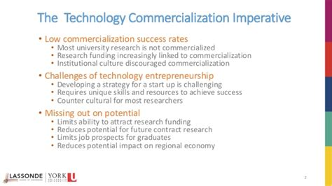 Mba In Technology Commercialization by Technology Commercialization Overview