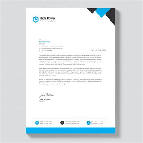letterhead mockup blue black shapes premium psd