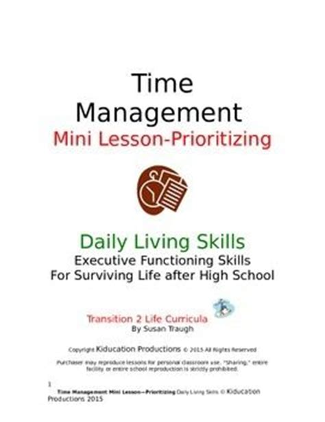 quot prioritizing quot mini lesson from time management workbook high school students student and