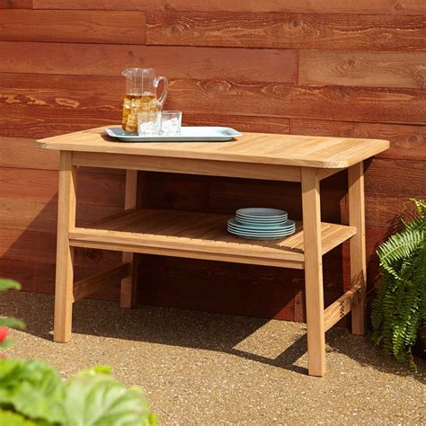 Brantley Curved Teak Outdoor Grill Table   Outdoor