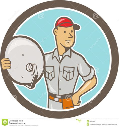 Dish Installer by Cable Tv Installer Stock Photography Image 38602852