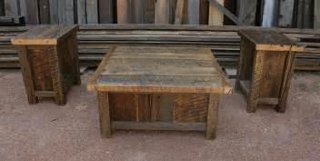 Rustic Barnwood Coffee Table Reclaimed Barnwood Rustic Coffee End Table Set By Echopeakdesign