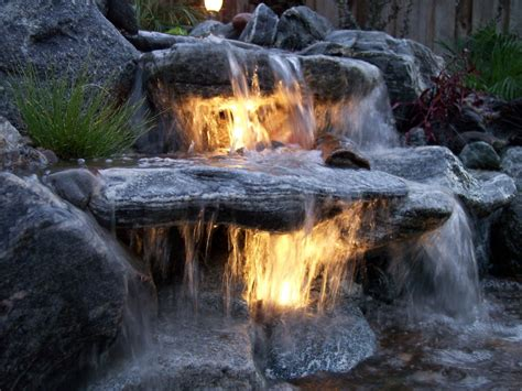 Outdoor Water Features With Lights Backyard Waterfalls The Pond Digger