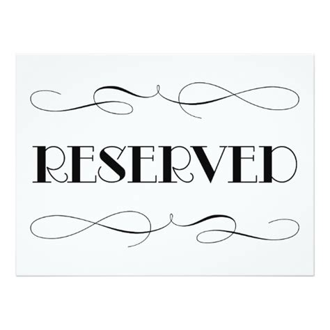 Reserved Seating Wedding Sign Card Zazzle Com Reserved Table Sign Template