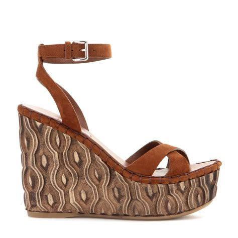Miu Miu Wedges miu miu suede platform wedge sandals in brown lyst