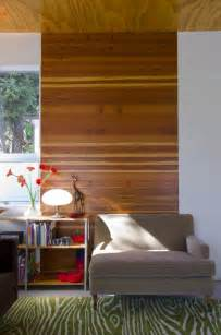 Modern Wood Wall horizonal paneling pops against a white wall