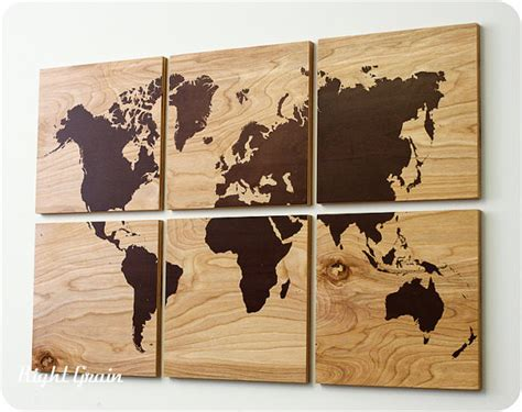 world map home decor wood grain world map screen print large from rightgrain on