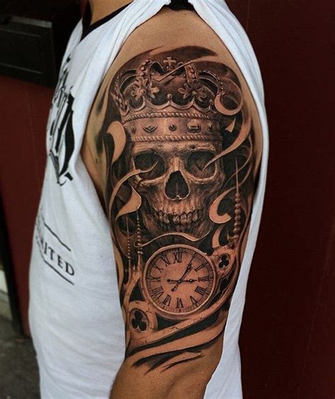 skull king and time half sleeve tattoo amazing tattoo ideas