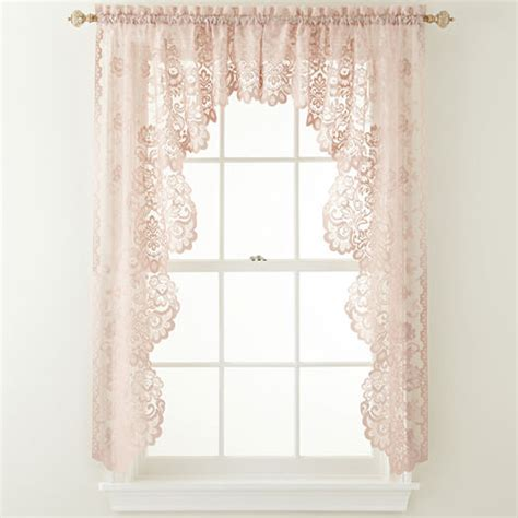 jcp curtains valances jcp home shari lace rod pocket cascade valance