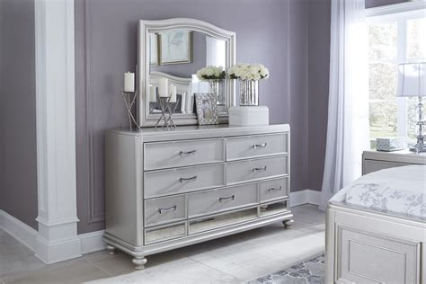 bedroom sets with mirrors coralayne silver b650 4 pc king bedroom set