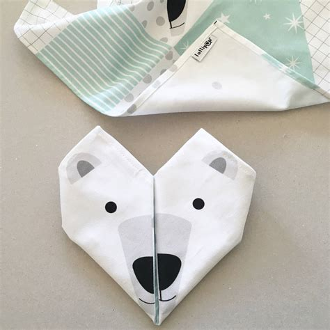 Napkins Origami - origami cotton napkins polar bears set of four by