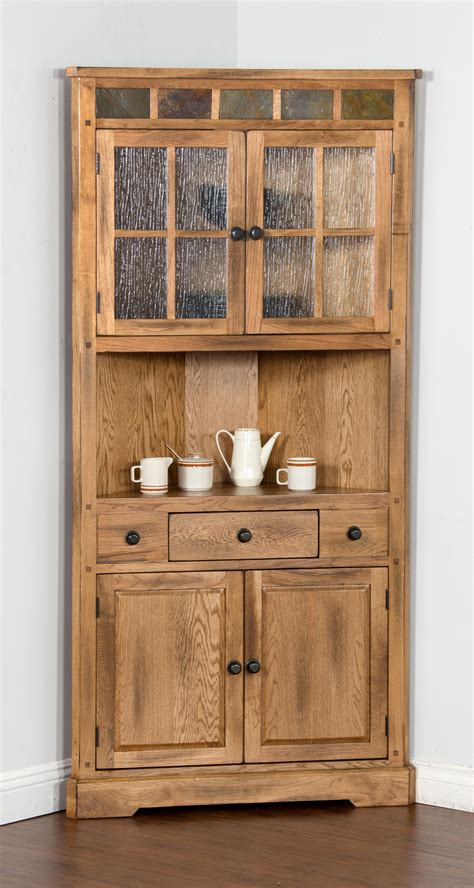 corner kitchen hutch cabinet oak corner china cabinet with slate by sunny designs