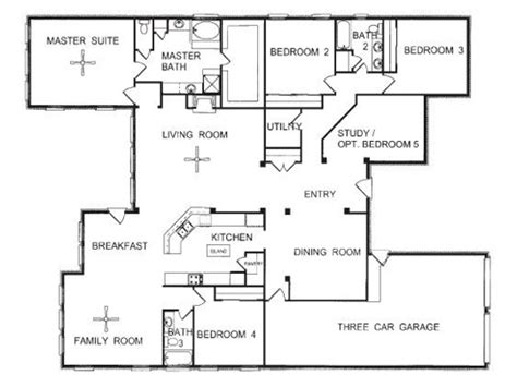 Four Bedroom Floor Plans Single Story by One Story Floor Plans One Story Open Floor House Plans