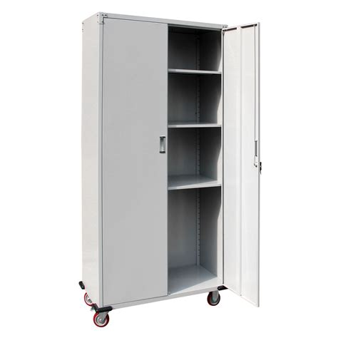 Metal Storage Cabinets With Doors And Shelves New Metal Rolling Garage Tool Box Storage Cabinet Shelving Doors W 4 Shelves Ebay