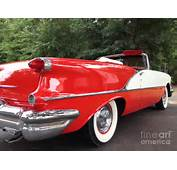 Vintage American Car  Red And White 1955 Oldsmobile
