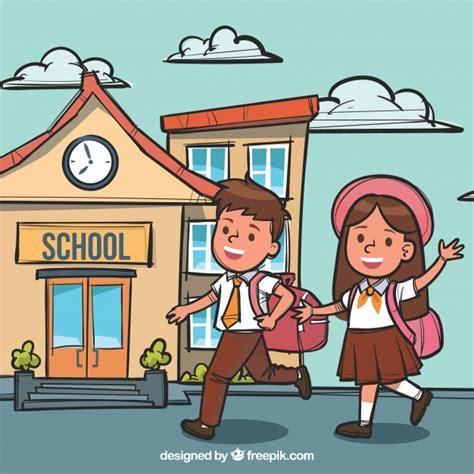 imagenes niños yendo ala escuela ni 241 os sonrientes yendo al colegio dibujado a mano