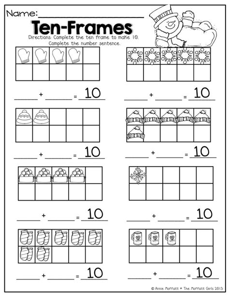 Ten Frame Worksheet by Ten Frame Math Math