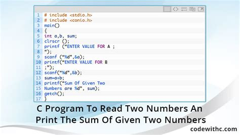 print the given pattern in c c program to read two numbers and print the sum of given