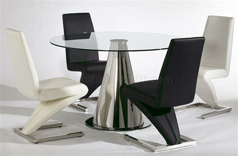 Tempered glass round top modern dining table w optional chairs cyds