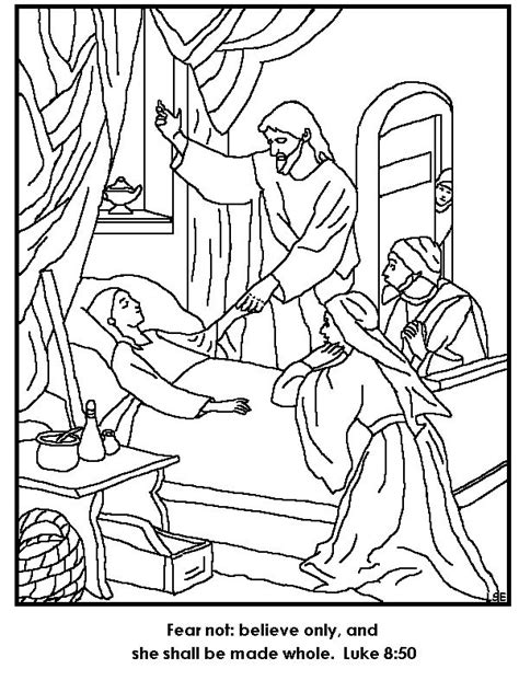 sunday school coloring pages jesus heals the sick jesus restores jairus daughter to life coloring page