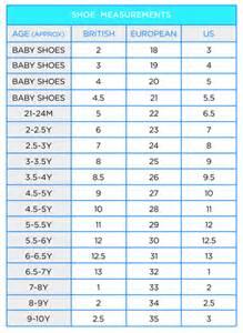 Shoe size conversion charts that allow you to convert a shoe size