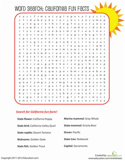 Finder Ca California Facts Word Search Worksheet Education