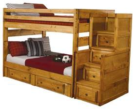 wash oak solid wood bunk bed storage
