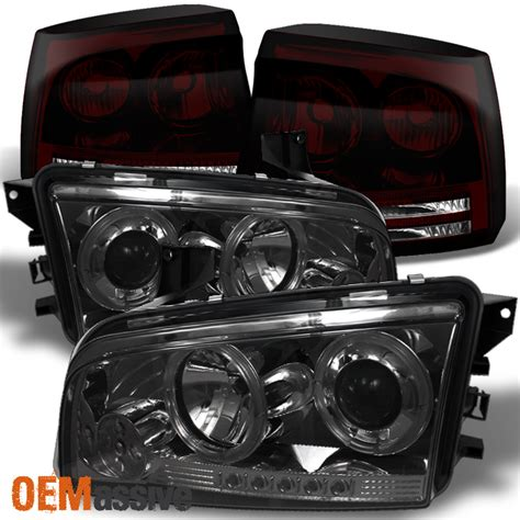 dodge charger smoked lights 2006 2008 dodge charger smoked halo led projector